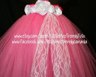 Shocking Pink Tutu Dress with White Handmade Flowers, Aurora Tutu Dress, Pink Tutu Dress, Pink Flower Girl Tutu Dress
