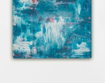 Painting abstract art blue teal pink red grey gray big contemporary painting minimalist painting modern painting