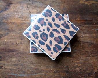 Tile Coasters, Animal Print Coasters, Unique Coasters, Drink Coasters, Table Coasters, Leopard Print Coasters, Ceramic Coasters, Set of 4