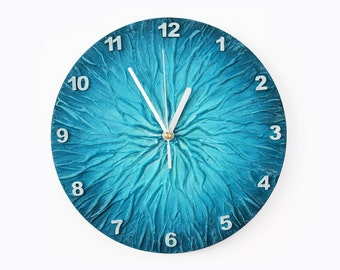 BLUE WALL CLOCK, Unique Clock, modern wall clock, blue office decor,