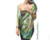 Hand painted silk scarf. Femme fatal scarf. Violet Green scarf. Fairy Ferns Natural sílk. Whimsical Romantic shawl for her her Wearable art.