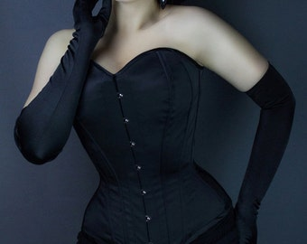 Gothic steel bones overbust waist training black satin corset