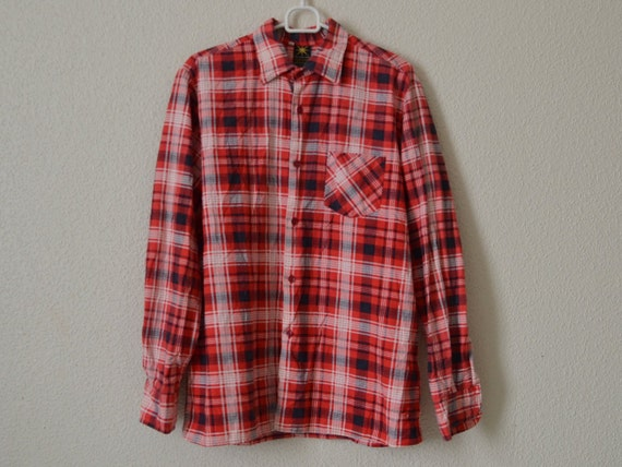 Red Plaid Flannel Shirt Mens Tartan Check Lumberjack Shirt