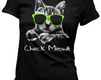 Lady's Check Meowt tshirt cat shirts funny tshirts hipster shirt