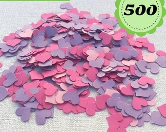 Purple, pink and fuchsia Confettis - 500 heart- Scrapbooking - Party confetti - Wedding confettis - Heart confettis - Table Confettis - Pink