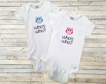 Who's Who?  Twin Bodysuit Set for Boys and Girls