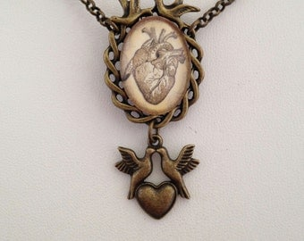 Asymmetrical Steampunk Gothic Romantic Love Birds with Antique Anatomical Heart Necklace