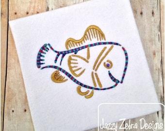 Fish Satin Stitch Outline Embroidery Design - beach Embroidery Design - summer Embroidery Design - fish Embroidery Design