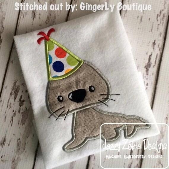Seal Birthday Appliqué embroidery Design - birthday appliqué design - seal appliqué design