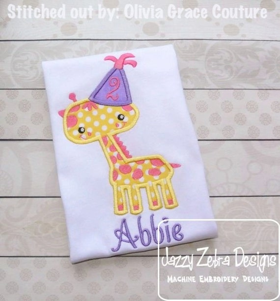 Giraffe Birthday Appliqué Embroidery Design - Birthday appliqué design - Giraffe applique design