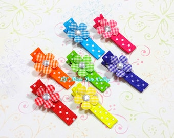 Rainbow Hair Clippie Set- Flower Hair Clippies- Sweet Hair Clips- Feltie Barrette-(Set of 7)