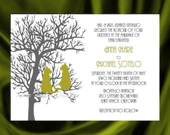 Tree  Cat Invitation & RSVP  Tree Wedding Invitation Tree Cat Wedding Invitation   Love Cats Invitation - Tree Design 22