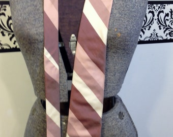 1980's Shades of Pink Men's Hipster Necktie by Giovanni De Lorenzo, Vintage 80's Men's Tie in Rose and Dusk Pink, 1980's Men's Necktie Gift