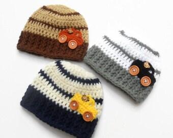 Boy hat car Crochet car beanie Baby car hat Car applique hat Newborn car beanie Stripes hat Baby gift MADE TO ORDER