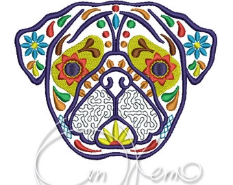 MACHINE EMBROIDERY DESIGN - Calavera Pug, Dia de los muertos, Mexican design, Halloween design, calavera dog, Day of the dead