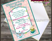 Tea Party Printable Personalized Invitation Digital File - Instant Download