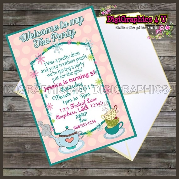 Girls Tea Party Personalized Birthday Party Invitation Printable Digital File - Instant Download