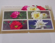 4 Canadian Roses stamps from (and for) Canada. Unused, perforated. Colorful. Send mail, frame, or use in crafts, altered arts, etc.