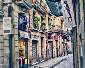 Barcelona Print, Gothic Quarter, Travel Photography, Sale, Wall Art, Europe, Neutral, Romantic, Street Scene, Barcelona Photo
