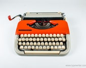 VALENTINE'S SALE - Maritsa 11 -  Free Shipping -  Princess - Orange and beige - Vintage - Portable Manual typewriter