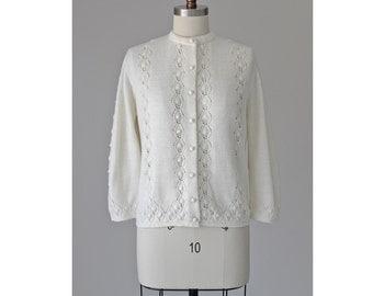 cream knit cardigan / vintage 50s cardigan / open knit cream sweater / medium