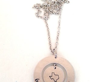 TEXAS Born and Raised Washer Hand Stamped Necklace