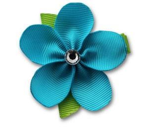 hair clip,  blue bow, blue flower clip ,  girls hair bow,  special hair clips