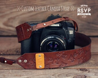SALE 20% OFF, Custom Leather Camera Strap, Handmade personalized gift, Shabby Chic, roses, floral, DSLR, hipster, Custom text, name initials
