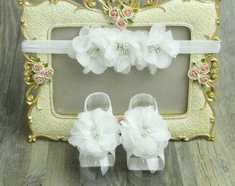 White Barefoot Baby Sandal Set, Chiffon White Flower Headband with matching barefoot sandals, Barefoot Baby Sandals,Christening Sandal Set