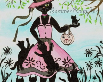 Mother Cat with kittens, she can do it all, perfect for Mother's Day, card or print,  Watercolor, Item #0189a