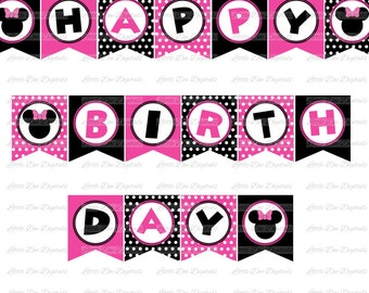 Girl Mouse with Bow Pink and Black Happy Birthday Banner - DIY Instant Download Printable Bunting Pennant Sign