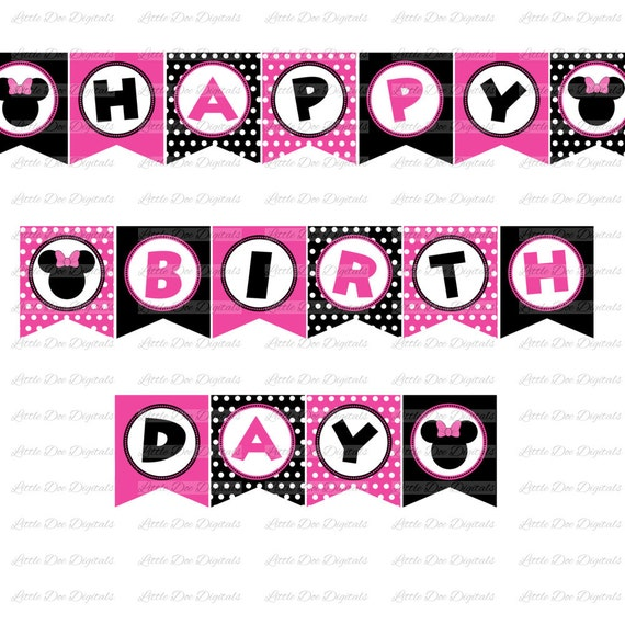 Girl Mouse With Bow Pink And Black Happy Birthday Banner DIY