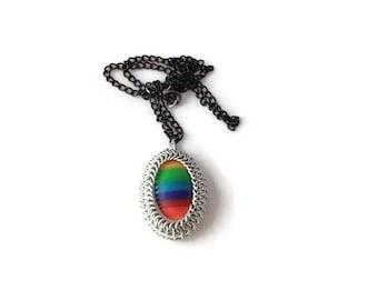 Rainbow Pendant - Chainmaille Wrapped Pendant - Pride Pendant