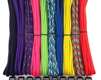 """100ft 550 Paracord Kit for Paracord bracelets + 10 3/8"""" buckles 10 feet each - Type III 7 Strand Mil Spec Made in USA ~ DIY parachute cord"""