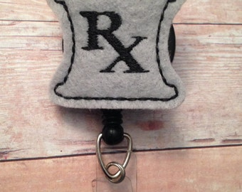 Pharmacist badge reel -- gray mortar and pestle -- great gift for a pharmacist