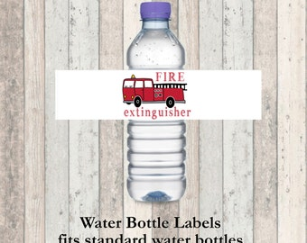 Firetruck Birthday Party Water Bottle Labels - Fire extinguisher