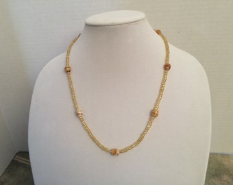 Amber Swirl and Glass Bead Necklace