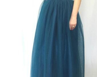 "Women Tulle Skirt / Petrol Maxi Tutu Skirt / Princess Skirt,  Wedding Skirt - – ""Choose to be me' / express shipping / MD10001"