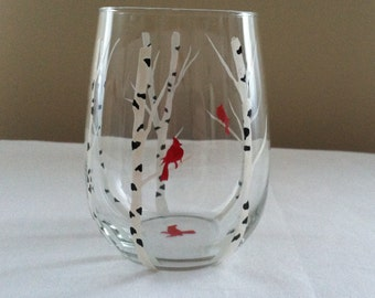 Birch trees and cardinal silhouette, hand painted stemless glass