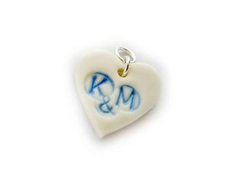 Bridal Charm - Personalised Pendant - Something Blue - Custom Charm - Wedding Bouquet Charm - Personalised Charm - Heart Charm - Bridal Pin