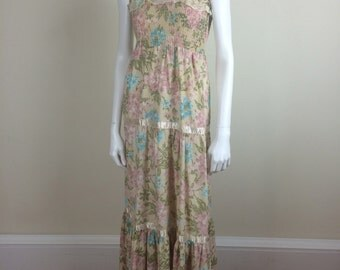floral smocked prairie maxi sundress w/ ribbon & lace trim