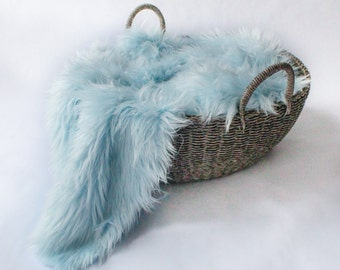 Light Baby Blue Mongolian Faux Fur Prop, Long Pile MOngolian Faux Fur, Newborn Photo PRop. Ready to Ship.