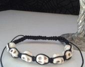 Macrame White Sugar Skull Shambala-Style Adjustable Bracelet, Goth, Punk