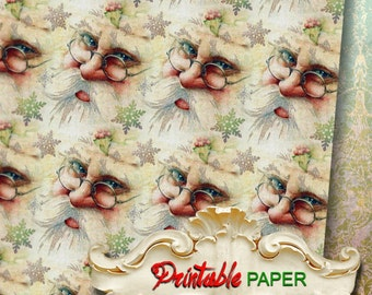 SANTA - Printable wrapping paper for Scrapbooking, Creat - Download and Print