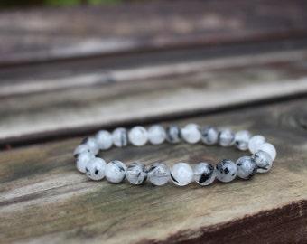 Black Tourmalinated Quartz Bracelet - Black Tourmalated Quartz Bracelet, Black Rutilated Quartz Jewelry, Gemstone Accessories