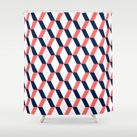navy coral shower curtain.  Geometric Shower Curtain Navy Coral White Bathroom