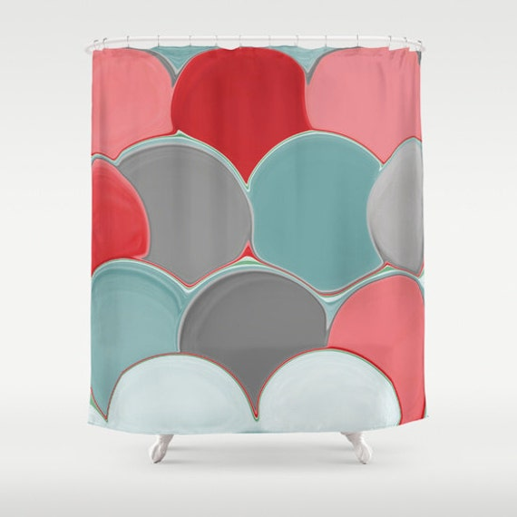 shower curtain teal red coral grey abstract art by