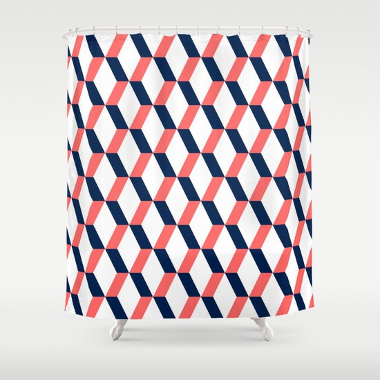 Geometric Shower Curtain Navy Coral White By HLBhomedesigns