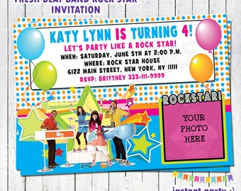 Fresh Beat Band Rock Star Birthday Invitation - Personalized with your info & photo - You Print