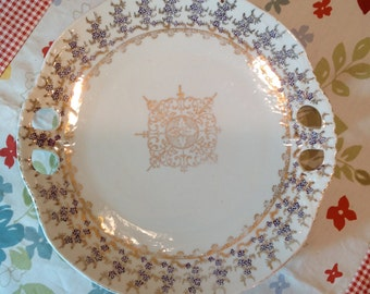 Antique, Victoria Carlsbad Austria porcelain plate # 268 stamped in gold along with blue factory mark